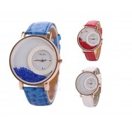 15 Leather Round Dial Analog Wri..